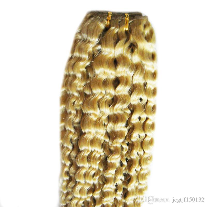 #613 Bleach Blonde human hair bundles 100g curly weave human hair brazilian virgin kinky curly weave,no shedding, tangle free