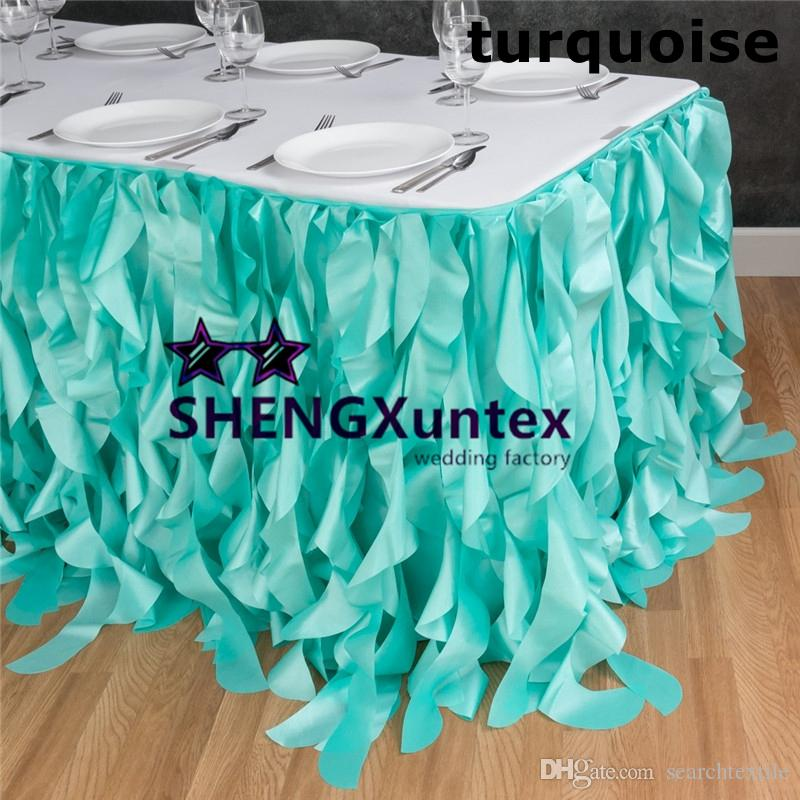 2018 New Design Wickle Taffeta Table Skirt \ Skirting For Wedding  Decoration Turquoise Color From Searchtextile, $151.74 | Dhgate.Com