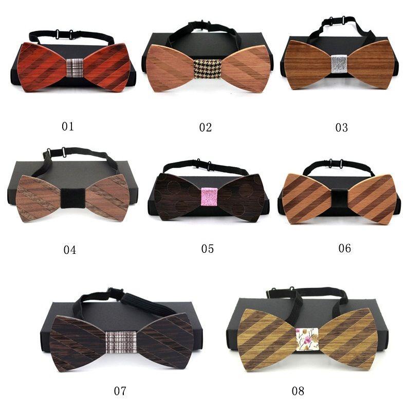 2017 New Fashion Bowties in legno Unico Handcrafted Wood Wedding Bowknot Classic Parte cravatte uomo 8 stili F924