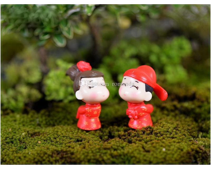 Китайский жених невесты миниатюры ПВХ мультфильм пары статуэтка DIY сказочный сад террариум микро пейзаж свадебные украшения DHL Бесплатная доставка