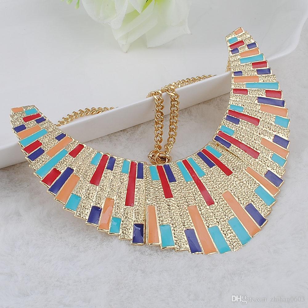 Maxi Kolye Collares Vintage Bildirimi Kolye Kolye Kadınlar için Bijoux Moda Emaye Gerdanlık Collier Kolye Takı