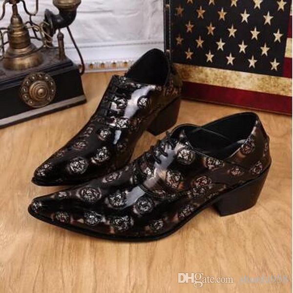 Новый Дизайн Лакированная Кожа Мужская Обувь Тиснением Кожаная Обувь Fahion Острым Носом Оксфорды Британский Стиль Человек Черный Бизнес Платье Обувь Партии