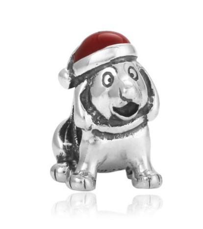 Wholesale Christmas Hats Puppy Charm Bead Silver Enamel European Charms Beads Fit Pandora DIY Snake Chain Bracelet Fashion Jewelry