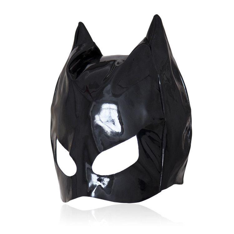 Sex toys PU Leather Gimp Headgear Devil Head Mask with Eye hole evil Horns Adult game Sex Bondage Party Cosplay Lady Mask Face Eye Mask