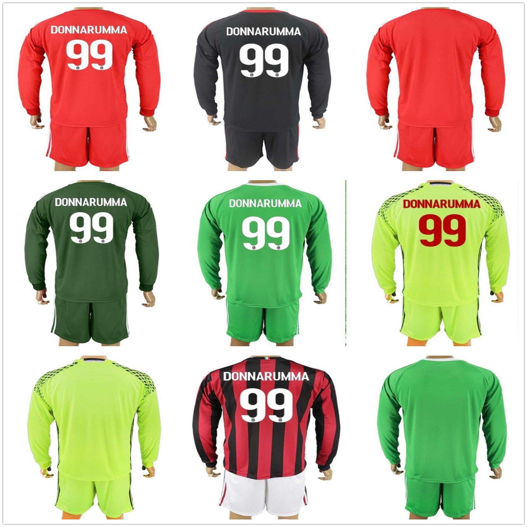 2017 2018 long sleeve ac milan goalkeeper soccer jerseys adults gianluigi 99 donnarumma men ac milan .