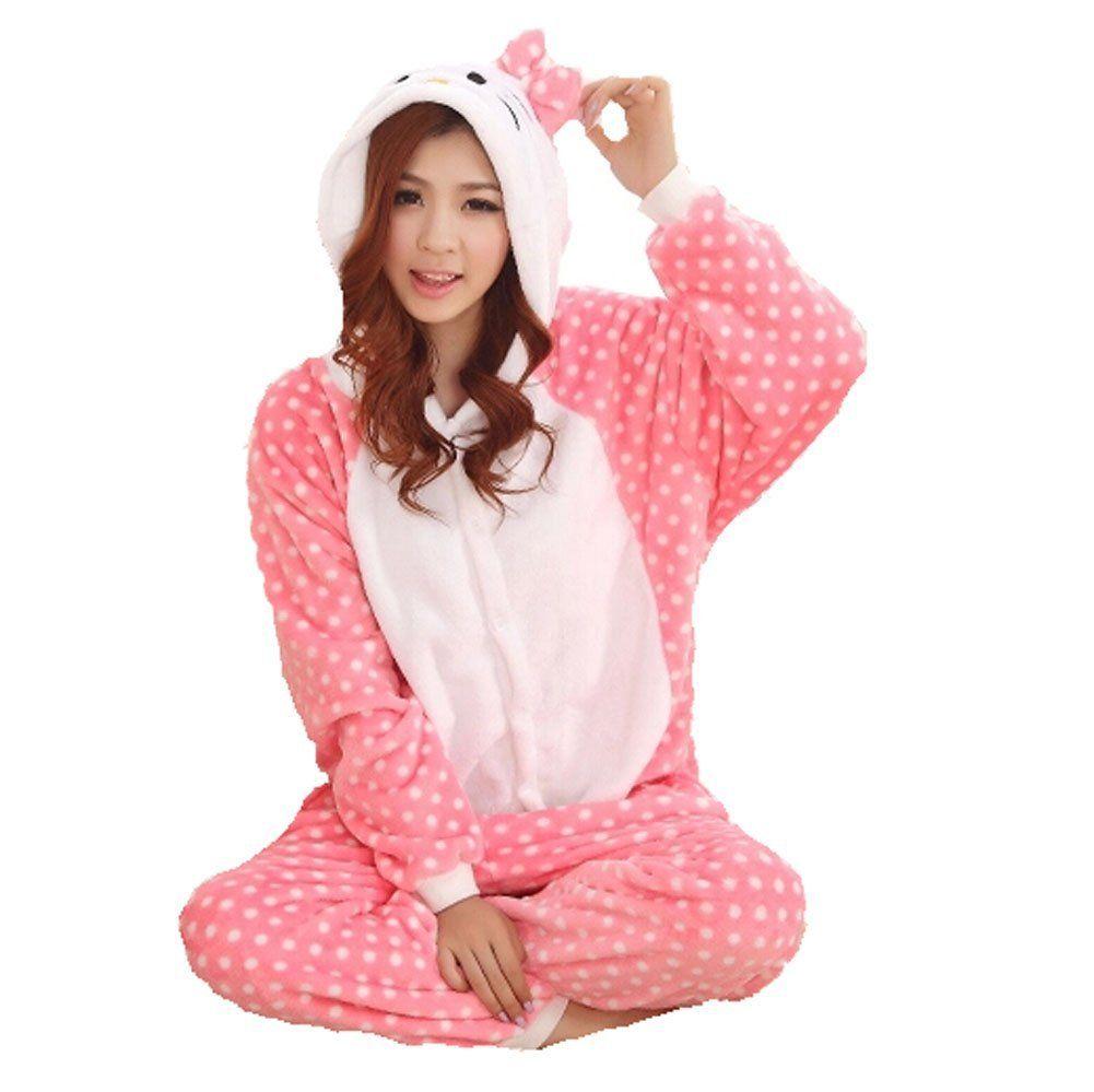 d9173e152638d3 Winter Warm Flanell Onesie Pyjama Erwachsene Unisex Einteiler Pyjama Rosa  Polka Dot Hallo Kitty