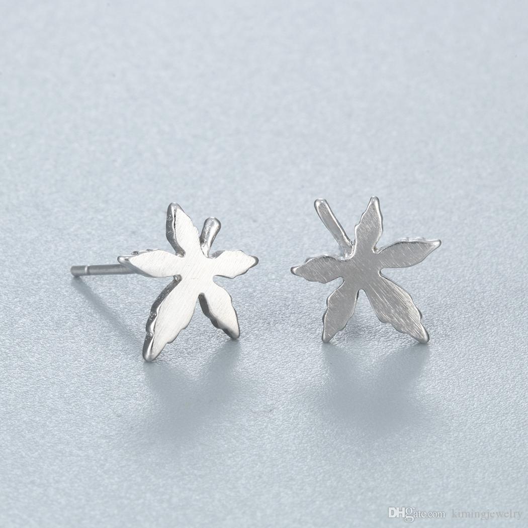 Pure 925 Sterling Silver Earrings Fashion Maple Leaf Stud Earrings For Women Hypoallergenic Sterling-silver-jewelry