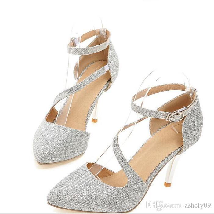 Women's Shoes Stiletto Heel Heels / Pointed Toe Heels Wedding / Dress Silver / Gold