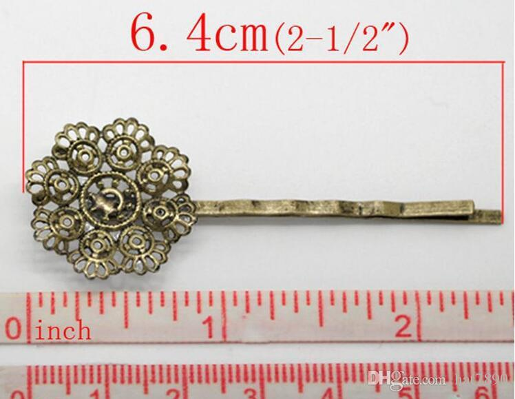 women's fashion antique bronze plated hollow 8 petal flower hair cilps DIY jewelry accessories side clip hair jewelry 6.4x2.3cm