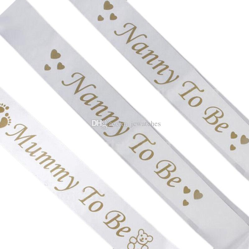 Mom To Be Satin Ribbon Sashes Baby Shower Party Decoration Mommy Shoulder Strap Sash Gift Mother Favors Event Supplies Flower Themed Birthday