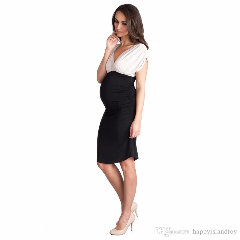 HI Bloom Vintage Fitted Women Business Dress Short Sleeve Patchwork Vest Vestidos Elegant Wcloset Maternity Pregnancy Dresses