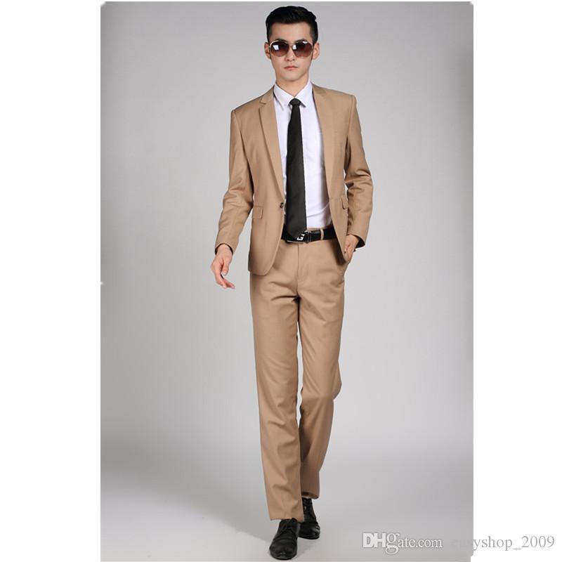 523870e474 High Quality Men Khaki Suit Wedding Dress Groom Suit Prom Party Suits Set  (Jacket + Pants) Mens Business Casual Suit Terno Noivo