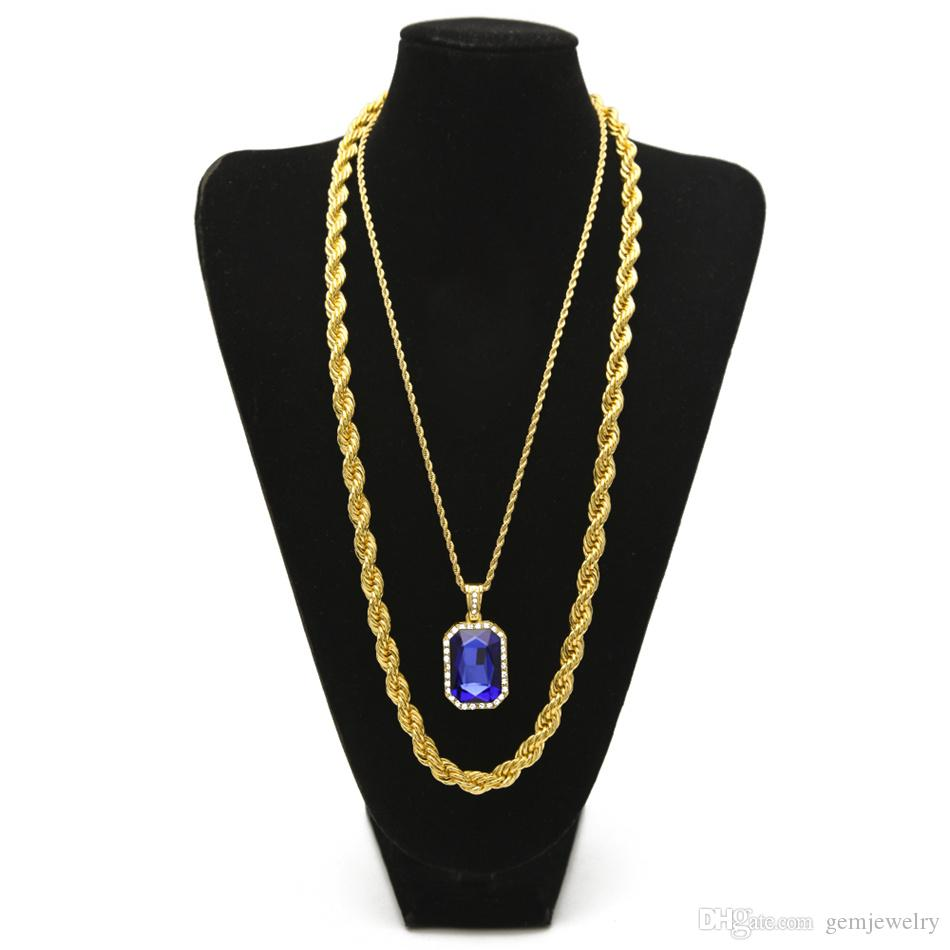 "Men's Hip hop Jewelry Set 30"" Long Rope Link Chain Necklace With Square Red Blue Rhinestone Crystal Pendant Necklace Set"