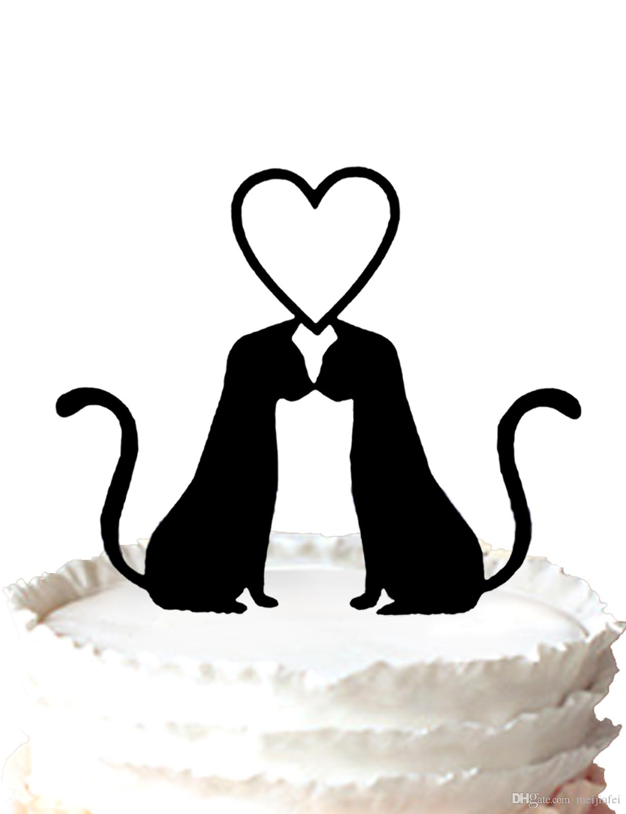Wedding cake topper-Two Cats in Love Wedding Cake Topper Anniversary Cupcake ,37 color for option Free Shipping