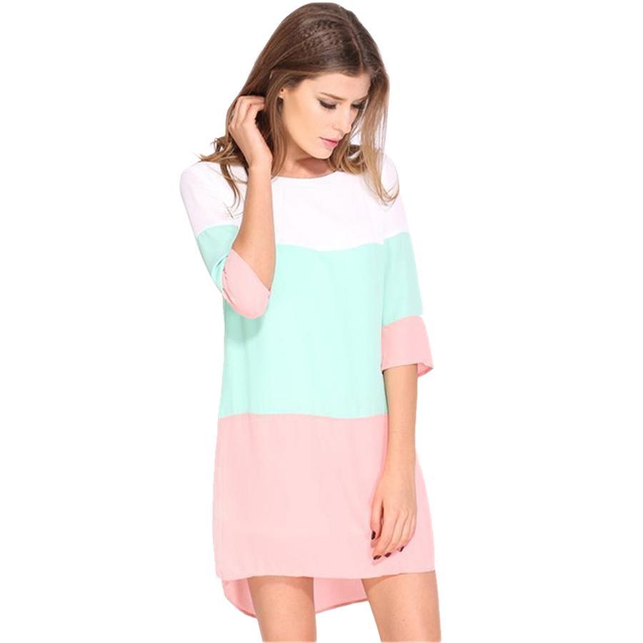 2f03ce8e41b 2019 Women Dress Summer Casual 2017 Chiffon Contrast Color Blocks Half  Sleeves Shift Tunic Plus Size Ladies Clothing Vestidos Party Dresses From  Raodaren