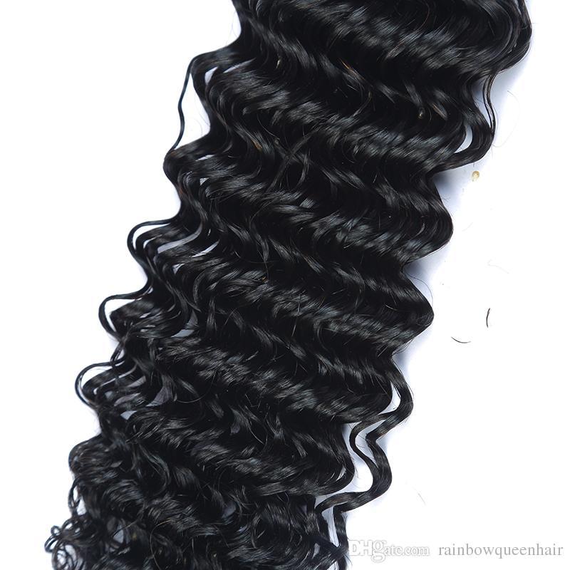Venda quente !!! Onda profunda do cabelo humano brasileiro tece 7A grau 100% não transformados extensões de cabelo humano 3/4 pacotes de cabelo humano brasileiro tece