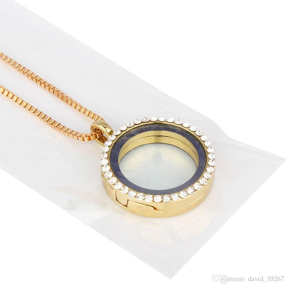 30mm Rhinestone Round Locket With Floating Birthstone Charms Glass l Memory Locket Pendant Necklace Crystal Locket Necklace