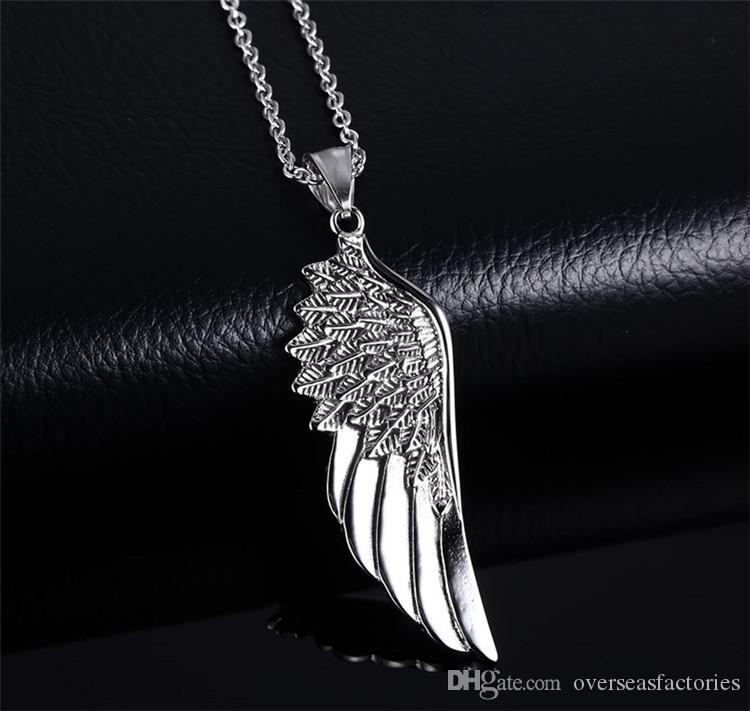 Men Choker Necklaces Stainless Steel Fashion Vintage Gothic Cool Feather Angel Wing Pendants Necklace Silver Jewelry