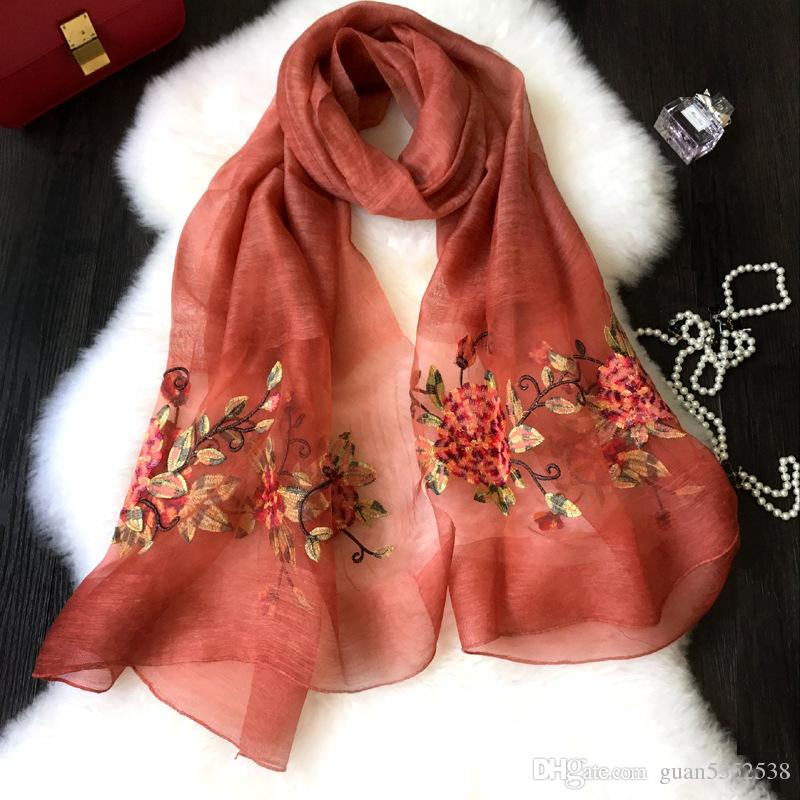 2019 women fashion cotton silk scarf shawl collar girl wind peony embroidery in China