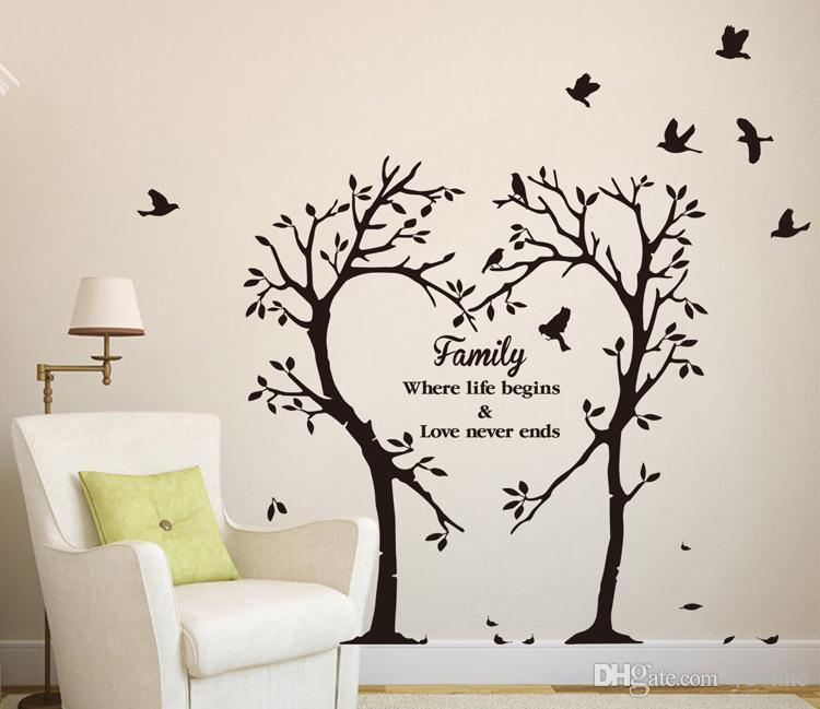 Family Love Tree Wall Stickers Creative Sitting Room Bedroom Background  Adornment Waterproof Wallpaper Can Be Removed