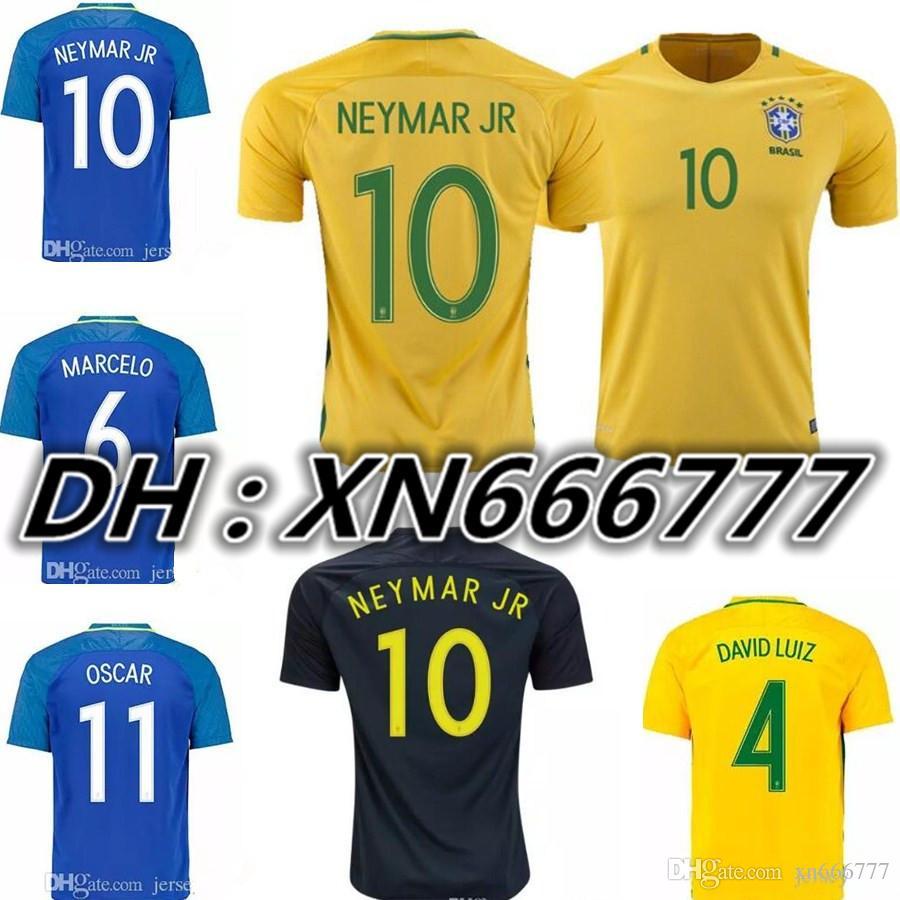 new brazil soccer jersey neymar jr home away 16 17 18 pele oscar d.costa