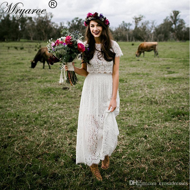 Discount Short Wedding Dresses 2017 Lace Two Piece Boho Wedding ...