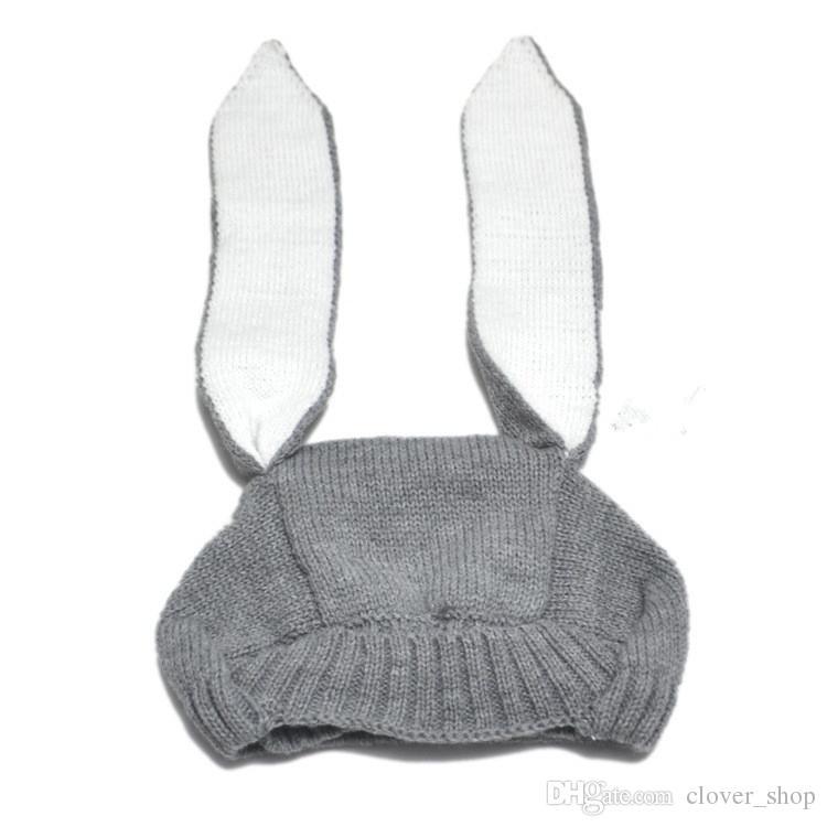 Осень Зима Малыш Младенческой Трикотажные Детские Hat Очаровательны Кролик Длинные Уха Hat Baby Bunny Beanie Cap Фото Реквизит