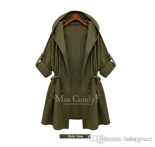 3a0f7721b77 Compre Ropa De Mujer De Talla Grande Abrigo Con Capucha Para Mujer De Dos  Colores Parche De Cintura Ancha Para Mujer A  26.14 Del Eastgrace