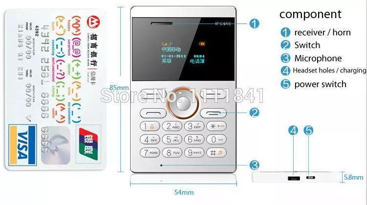 2017 new style small size IFcane E1 Card phone mini mobile phone ultra thin mini credit card phone FM Radio mini cheap phones