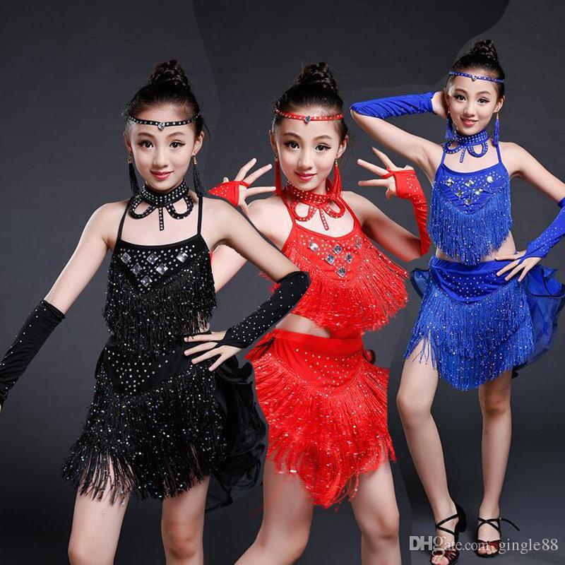 308deaa6dd0d 2019 Red Sequined Tassels Girl Leotards Toddler Girls Gymnastics ...
