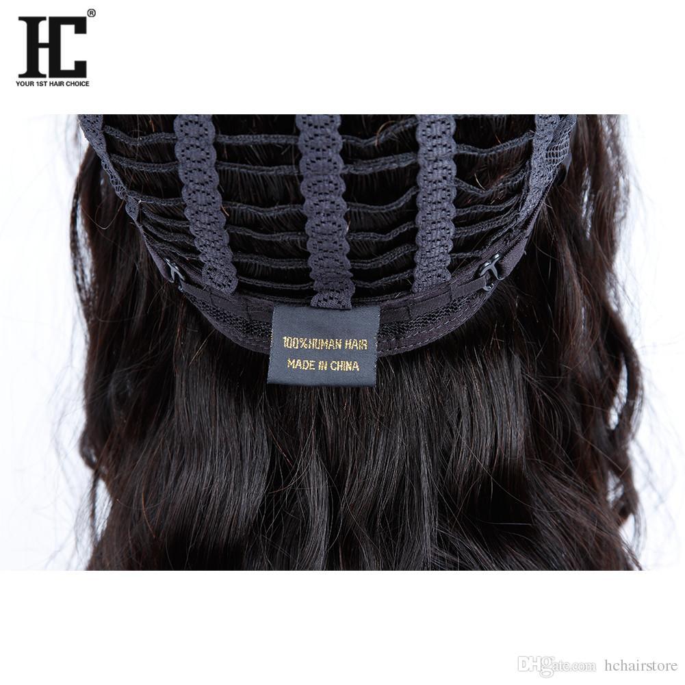 HC Saç Ürünleri 12 inç Hiçbiri Dantel Peruk İnsan Saç Hint Malezya Brezilyalı Perulu Moğol Doğal Dalga Siyah Kadınlar Için Doğal Renk