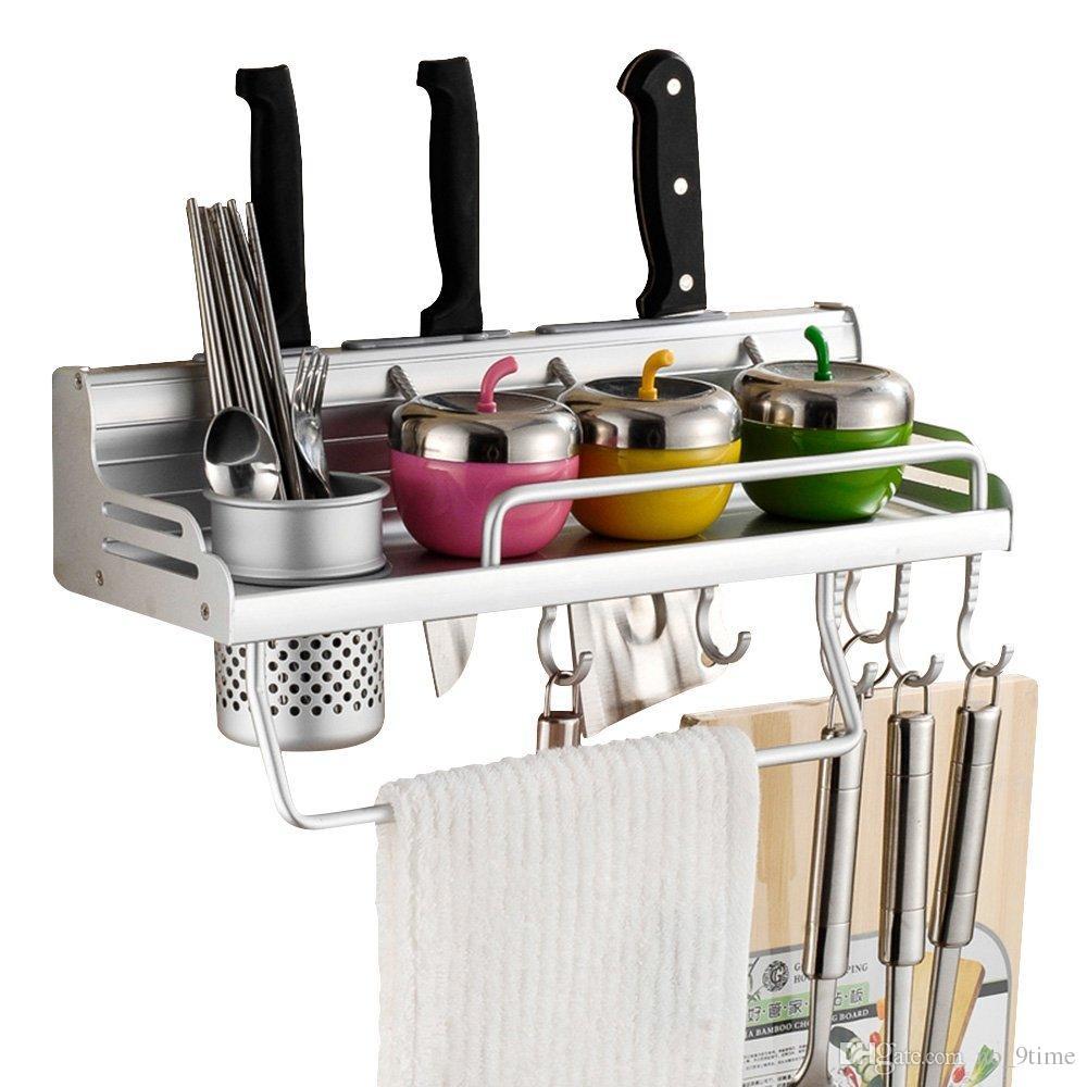 Acheter mur monté pot pan rack alumimum multifonctionnel mur rack cuisine avec étagères support à épices étagère de rangement de cuisine divers cintre de