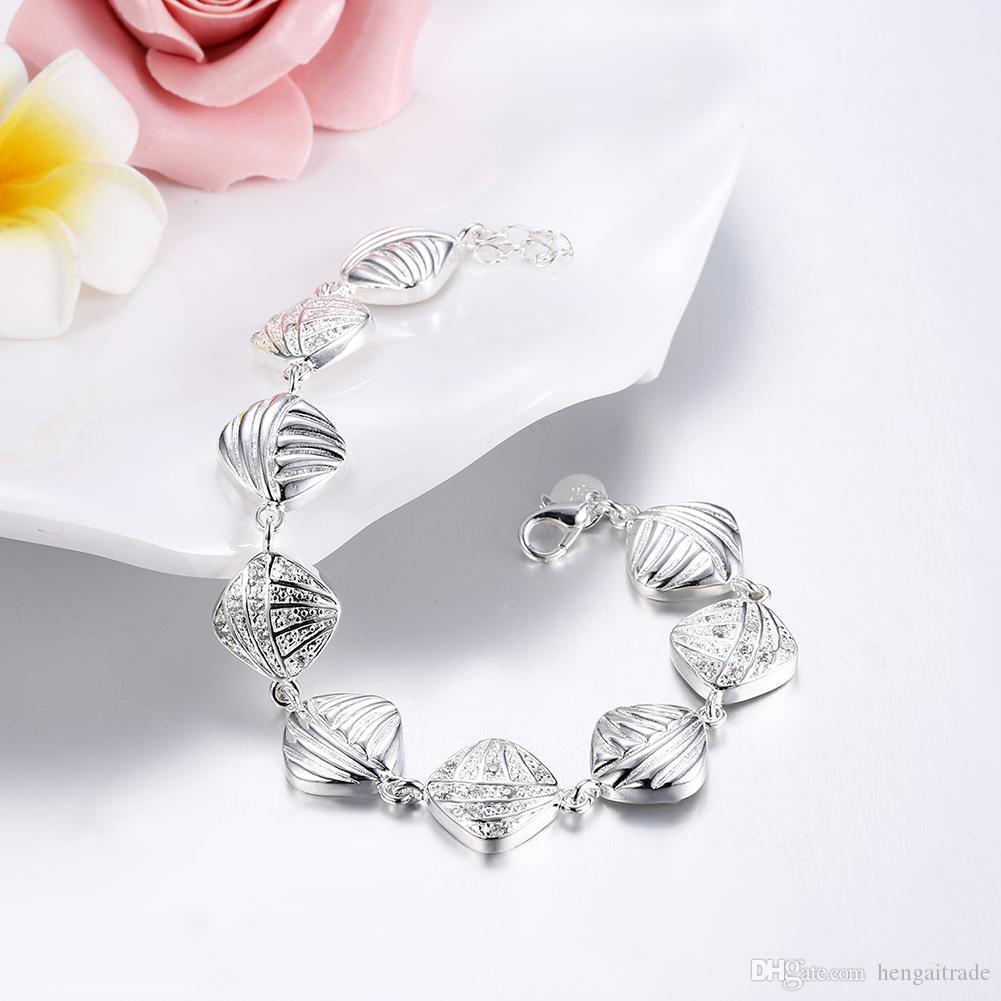 Wholesale 925 Sterling silver plated Lobster-claw-clasps charm bracelets LKNSPCH333