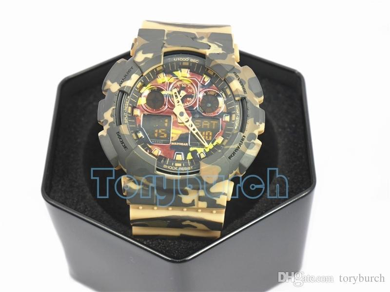 Высокое качество Relogio G * 100 Камуфляж мужские спортивные часы, фирменные мужские часы LED хронограф наручные часы, военные часы, цифровые часы