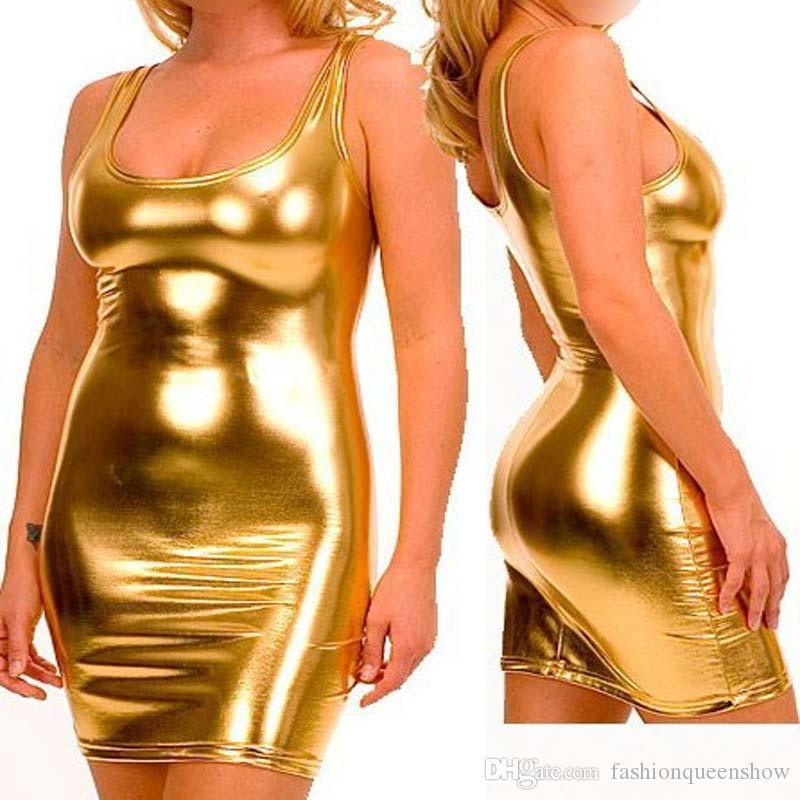 Hot Sexy Gold/Silver/Black Shiny Women Bandage Mini Dress Summer Sleeveless Clubwear Pole Dancing Clothing