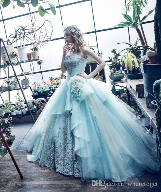 Most Beautiful Ball Gown Wedding Dresses: Mint Green Ball Gown Quinceanera Dresses Gowns Princess
