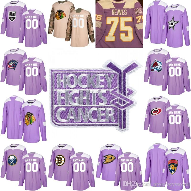 online store bbacd 2d14a New Season Purple Fights Cancer Practice Columbus Blue Jackets Dallas Stars  Carolina Hurricanes Buffalo Sabres 100% Stitched Hockey Jerseys