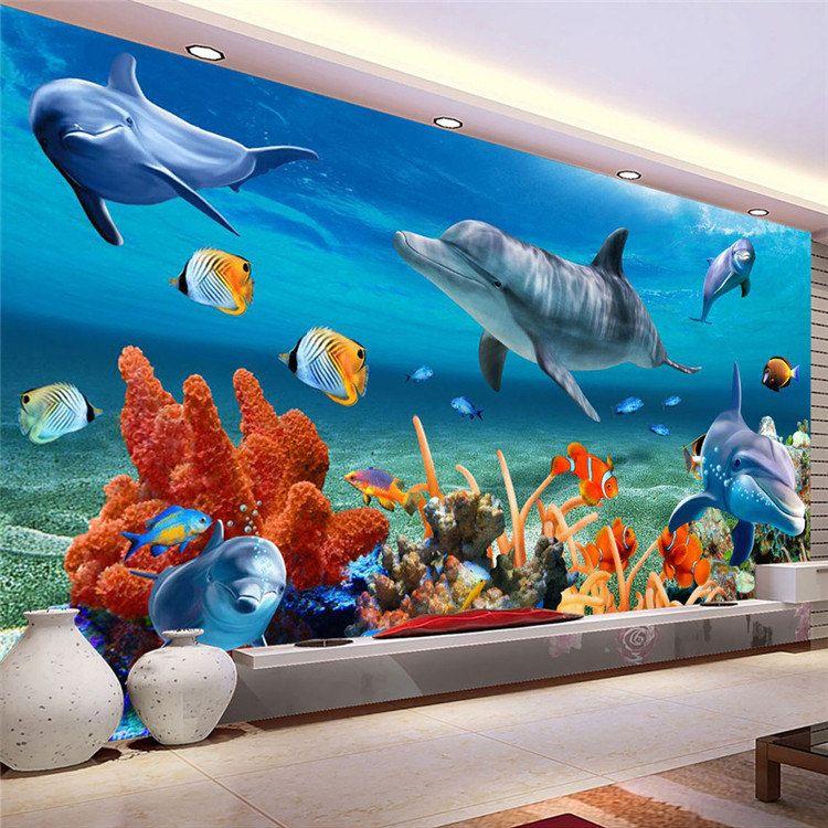 Satın Al Kid Için özel 3d Duvar Kağıdı Sualtı Yunus Balık Duvar