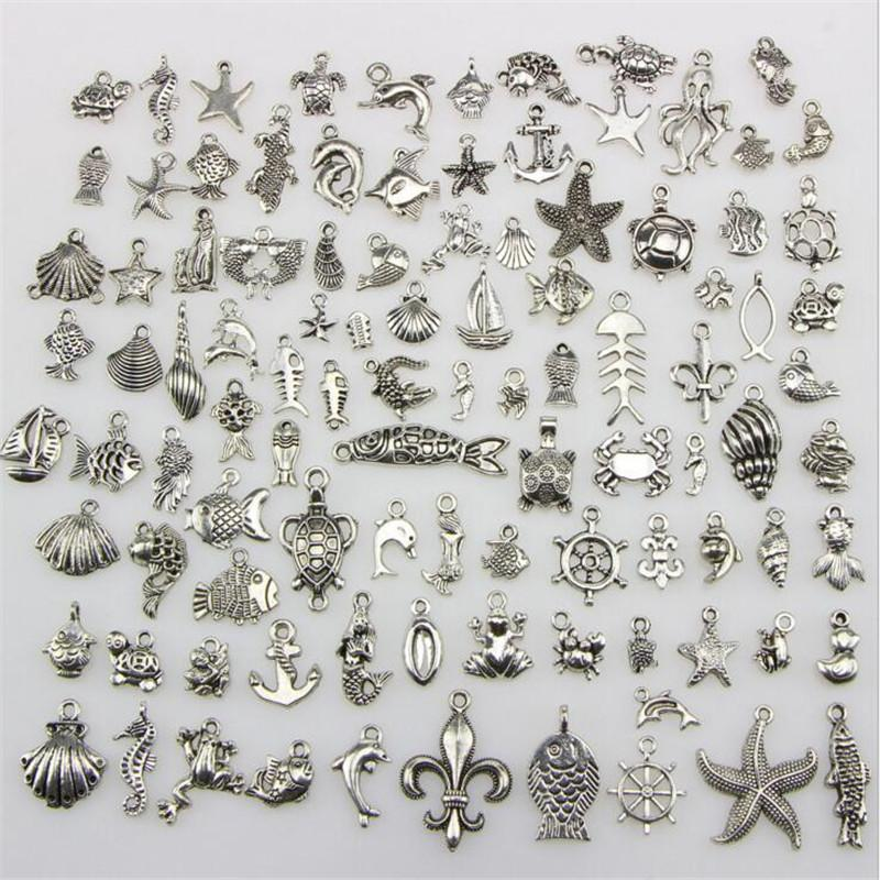 Mix 100 Style collier pendentif en argent charme bricolage Bijou tibétain Bracelet Collier Accessoires Bijou Composants