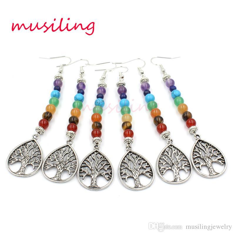7 Chanceux Perles Boucles D'oreilles pour Femmes Boucle D'oreille Naturel Pierre Cristal Bohème Wicca Sorcière Femmes Amulette Mode Style Bijoux
