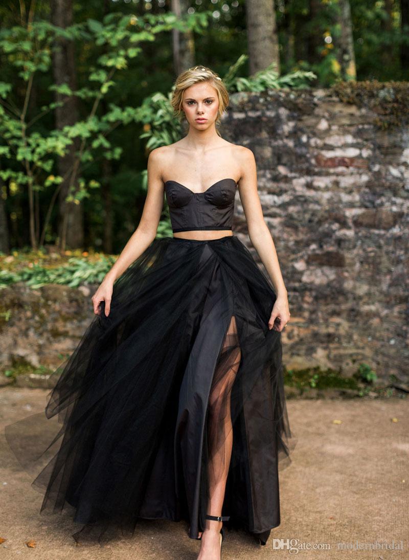ffc6692ae3 Compre Negro Gótico Vestidos De Novia 2017 Sexy Dos Piezas Dividida Falda  De Tul Vestidos De Novia Misteriosos Bonitos Vestidos De Boda A  114.72 Del  ...