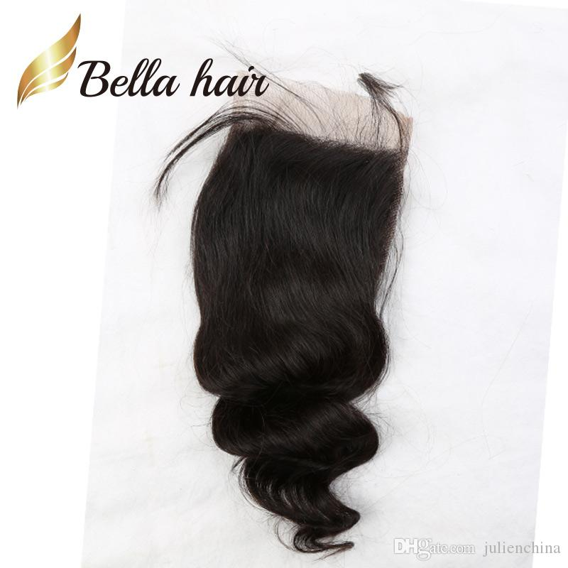 11A Naturfärg Peruvian Human Hair Extensions 4 * 4 5 * 5 6 * 6 GRATIS Mellanliggande Tre Del Lös Wave Top Closure Bellahair