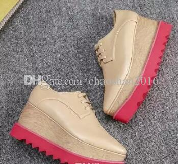 Nouvelle Arrivée Marque Italienne Stella Chaussures McCartney Femmes Causales femmes Chaussures Étoiles Coins Plateforme Semelle En Cuir Véritable