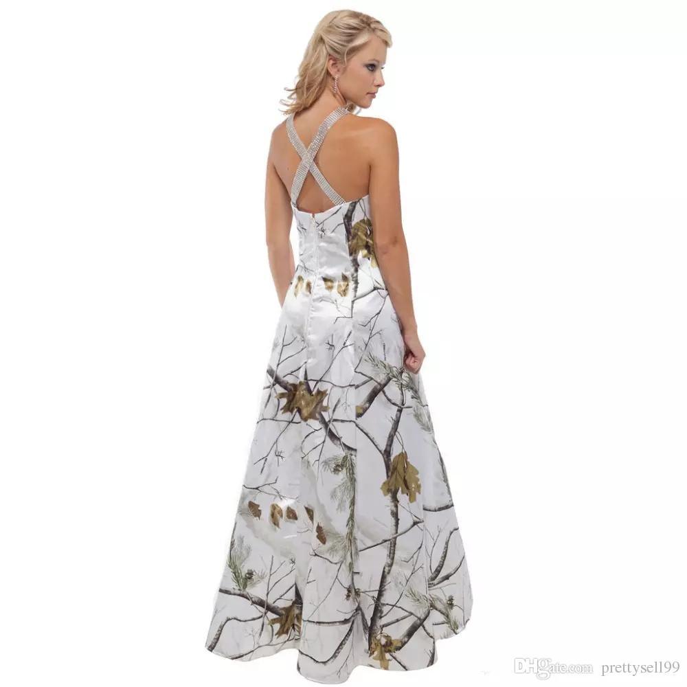 Robe de mariée Camo personnalisée 2020 pas cher balayage train Criss Cross Retour Robes de mariée perlée Custom Made Vestidos De Mariage