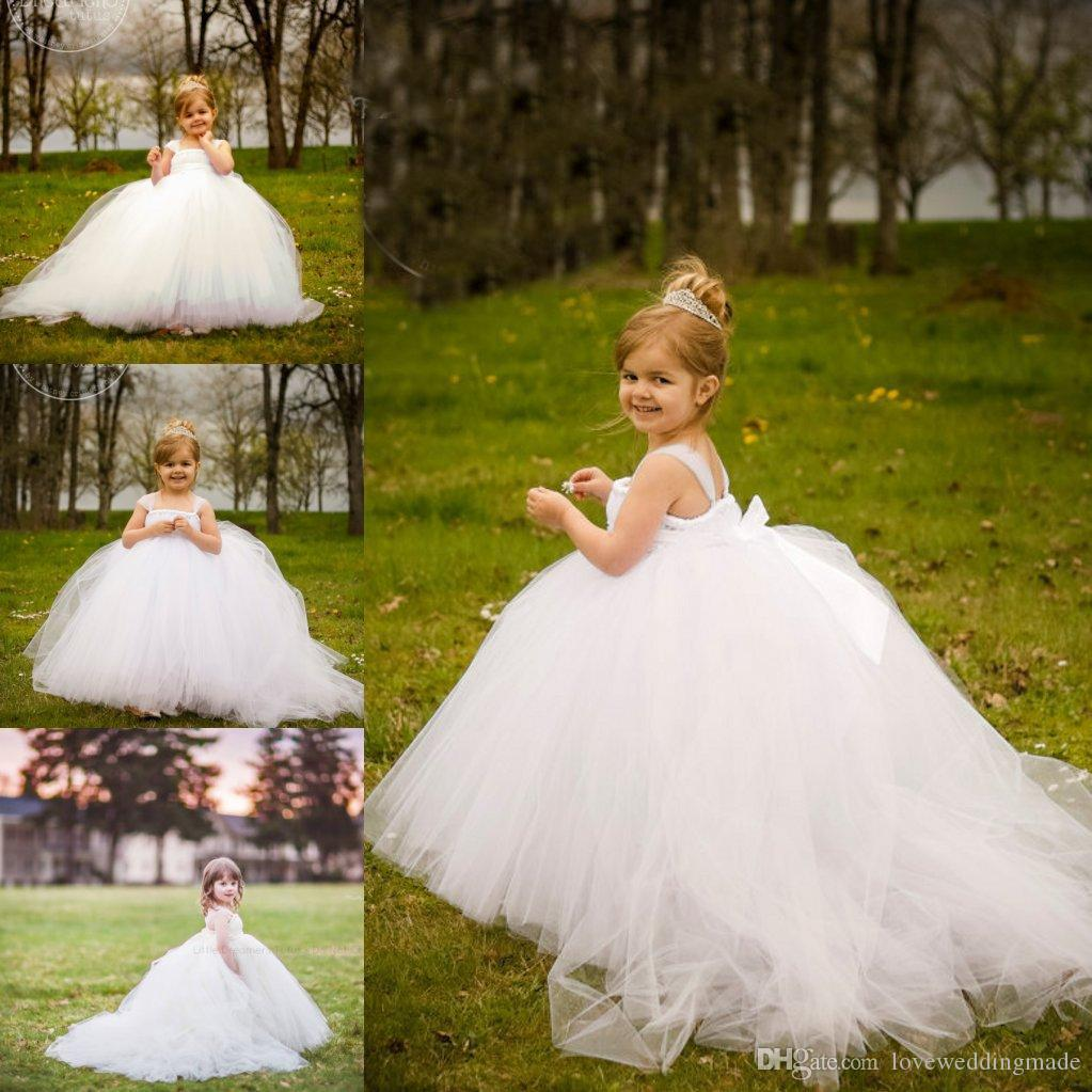 Cute Lovely Baby White Flower Girl Dresses 2017 Miniature Bride Tutu