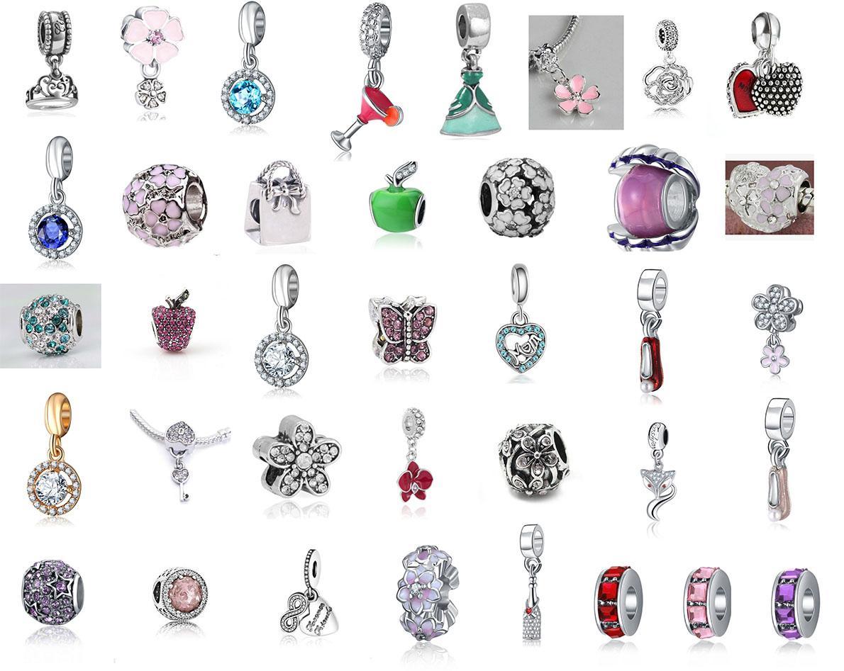 7455a4ed65297a Passen Pandora Charm Armband 37 Styles Silber Emaille Charms Anhänger Bead  925 Silber baumeln DIY Schmuck europäischen Schlangenkette Halskette ...
