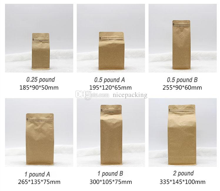 2019 Stand Up Coffee Bean Tea Packing Bag Kraft Paper Bag With Air