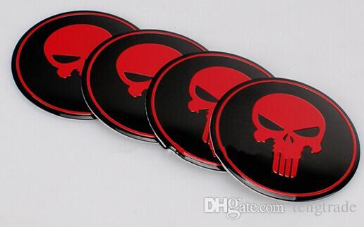 High Quality 56.5mm Aluminum alloy Sticker emblem badge Red Punisher Symbol Long Tooth Beard Skull Head for Car Wheel centre cover