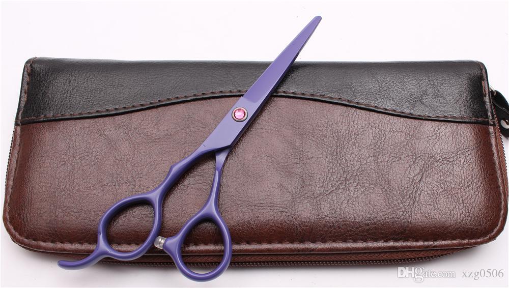 "6 inch Japan 440C Left Hand Scissors Customized Logo Purple Professional Human Hair Scissors Barber""s Hairdressing Shears Style Tools C8001"