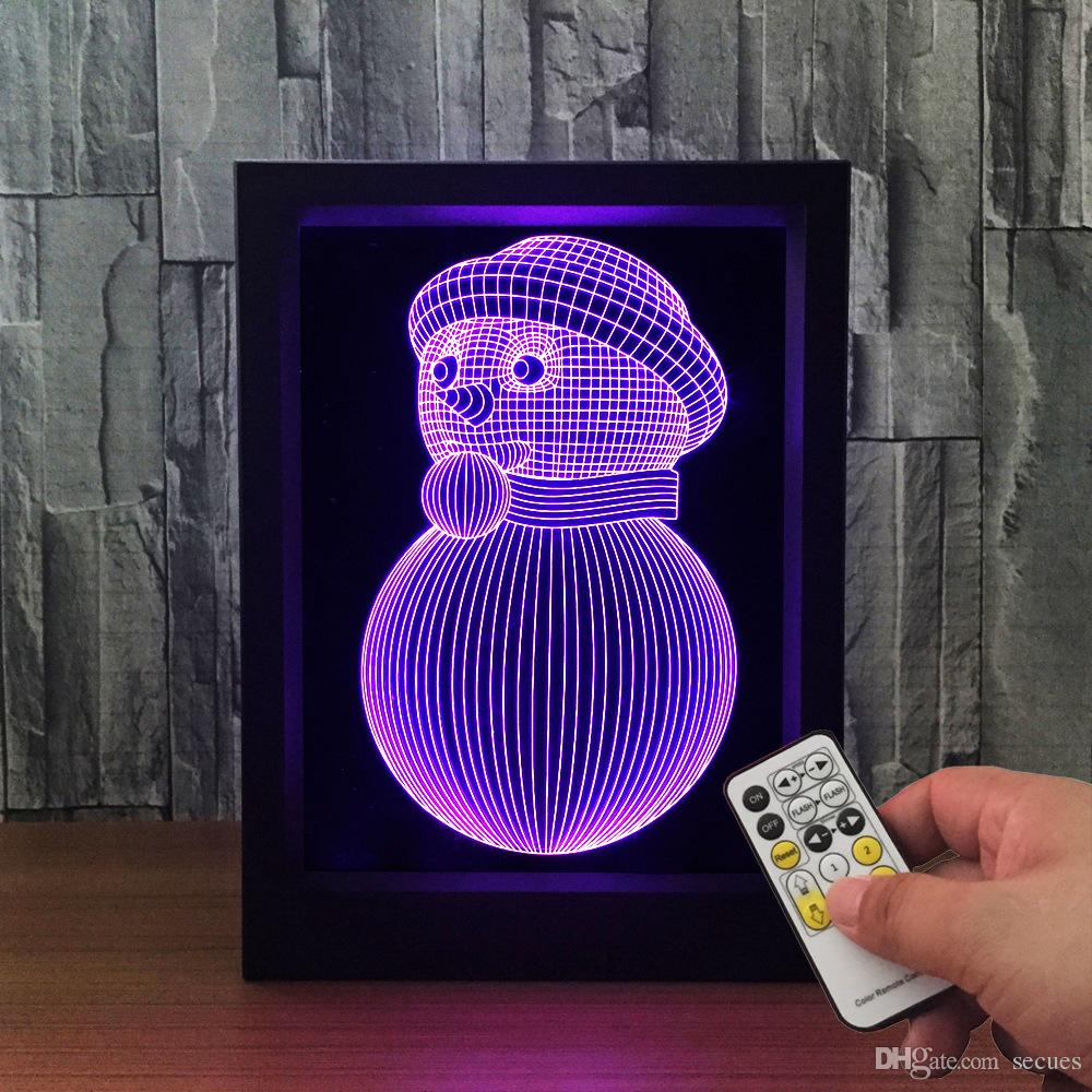 3D Snowman LED Photo Frame IR Remote 7 RGB Lights Battery or DC 5V Factory Wholesale Dropship